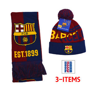 93ab44af987 Barcelona Scarf Reversible and Beanie New Season 18 Messi 10 Cap HAT ...