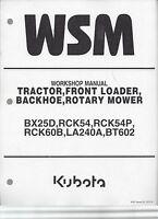 Kubota Bx25d Tractor, Loader, Backhoe, Rotary Mower Workshop Manual