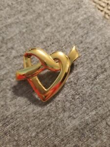 Signed-Napier-Gold-Tone-Heart-Knot