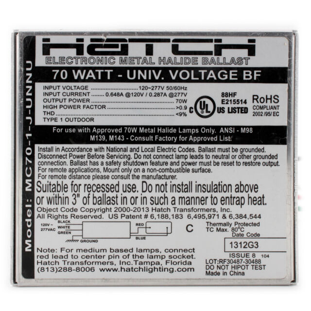 120//277 Volt 20 Watt Hatch MC20-1-J-UNNU Electronic Metal Halide Ballast