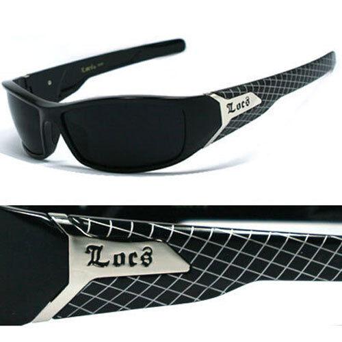Locs Mens Cholo Biker Wrap Around Designer Sunglasses Shiny Black Frame LC39