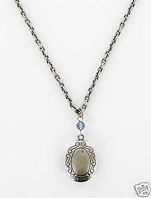 Medaillon Bordüre Collier Messing Altsilber Glasperle