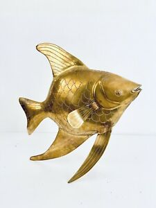Vintage-Solid-Large-Brass-Angelfish-Sculpture-6-4-Pounds-14-H-x-12-W-x-6-D