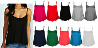 Womens Plain Swing Vest Sleeveless Top Strappy Cami Ladies Plus Size Flared 8-16