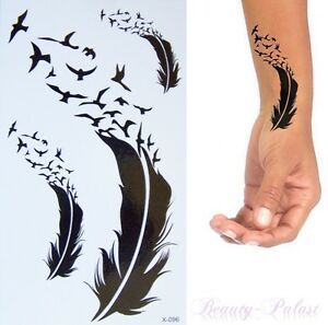 einmaltattoo temporary body tattoo fake tattoo feder vogel flash tattoo a130 ebay. Black Bedroom Furniture Sets. Home Design Ideas