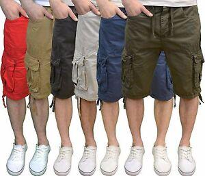 Crosshatch-Mens-Designer-Branded-Twill-Lightweight-Cargo-Summer-Shorts-BNWT