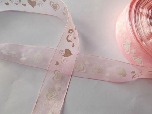 Heart Pattern Organza Ribbon 3 m x 28 mm Love Ideal Valentine choose colour
