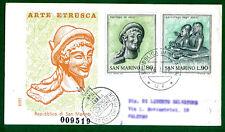 SAN MARINO BUSTA F D C  RODIA 1971 ARTE ETRUSCA ANNULLO PRIMO GIORNO