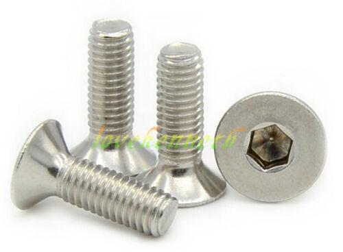 10pcs M4 Stainless Steel Flat Head Countersunk Sink Hex Socket Cap Screw Bolt