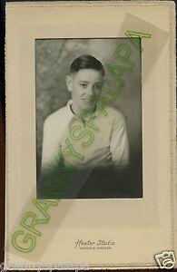 Antique Matted Photo - Cute Older Boy W/ Big Smile - Ontario, Oregon
