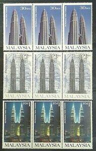 BLOCK-OF-3-MALAYSIA-1999-SG-768-770-PETRONAS-TWIN-TOWER-MNH-OG
