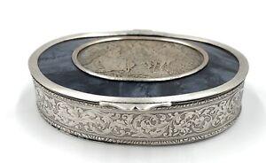 Belle-petite-Boite-Metal-argente-bijoux-Decor-grave-1900-Louis-XVI-verre
