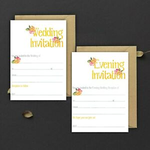 WEDDING-INVITATIONS-BLANK-SUMMER-YELLOW-ORANGE-amp-PINK-DAY-amp-EVE-PACKS-OF-10