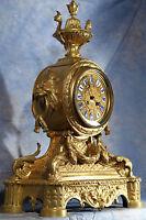Antique Massive French Ornate Bronze Ormolu Dore Gilded Mantel Clock Japy Freres