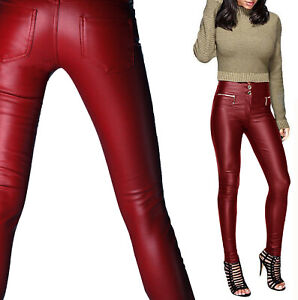 New-Women-s-Ladies-Sexy-Trousers-Leather-Look-Slim-Fit-Skinny-3-Button-Zip-Jeans