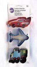 Wilton Cookie Cutter Set Car Plane Train Shapes 3 pcs Metal New