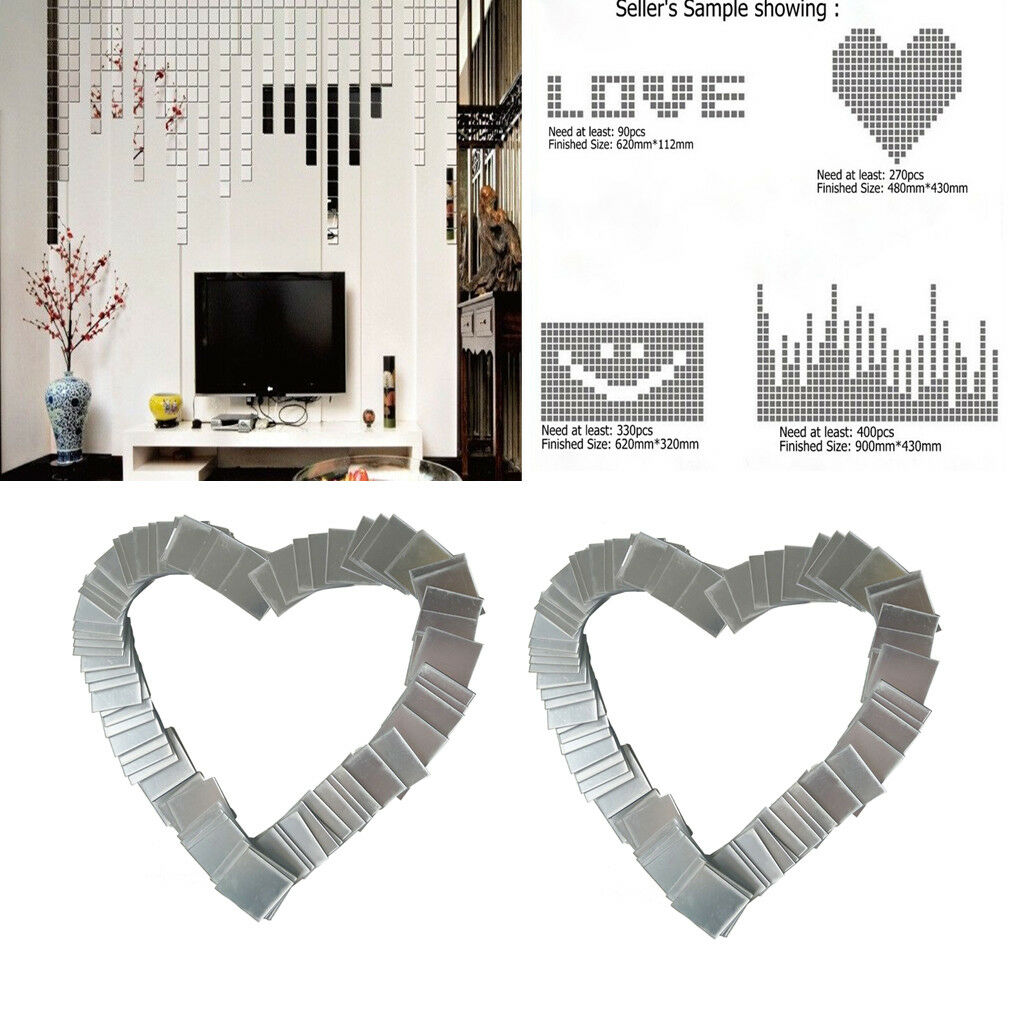 100 Sheets Flexible Mirror Sheets Mirror Wall Stickers Self Adhesive Decals