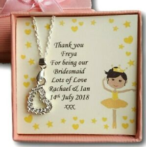 BRIDESMAID PRESENT GIFT CHILDRENS THANK YOU NECKLACE PERSONALISED  FLOWER GIRL
