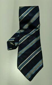 HERRINGBONE-Blue-Striped-Tie-8cm-Width-Silk-Cotton-Made-in-Italy