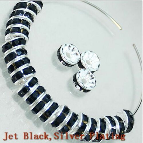 Wholesale 100Pcs Silver Plated Crystal Rhinestone Rondelle Spacer Beads 8mm