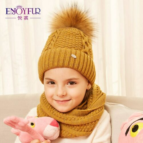 winter hat and scarf set for girls high quality Cotton knitted soft