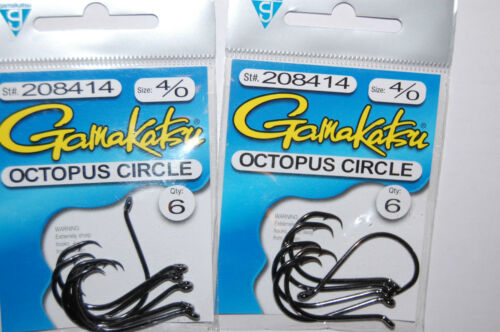 4 packs gamakatsu octopus circle hooks size 4//0 6 per pack 208414  AUTHENTIC