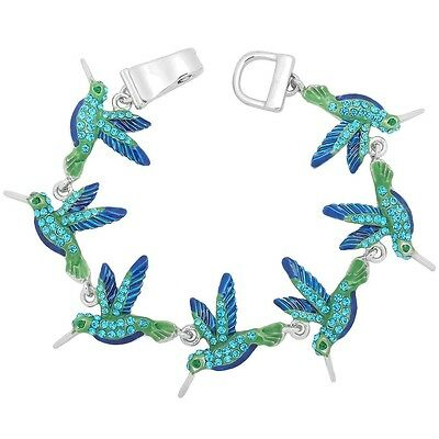 Hummingbird Bracelet Magnetic Clasp Bangle Painted Nature SILVER MULTI Bird Fly