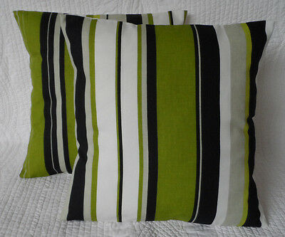 "4 x 18"" Cushion Covers Lime Green Grey and Black Stripe Handmade New  45cm"