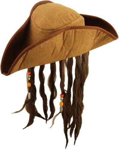 H38 478 Costume Uomo Pirata Cappello Con Capelli Dreadlocks Tricorn Caraibi