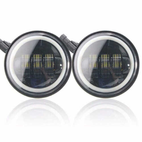 """4.5/"""" Black LED Auxiliary Spot Fog Passing Light Lamp DRL For Harley Motorcycle"""