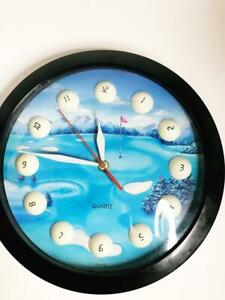 Vintage-Golf-Ball-Clock-Quartz-Golfing-Wall-Battery-Operated-Golfer-Man-Cave