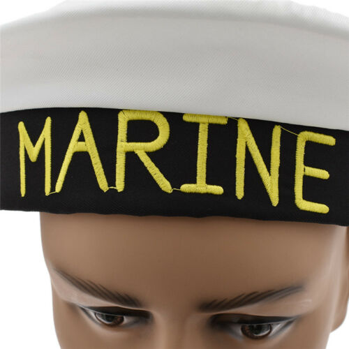 Sailor Hat Womens Mens Fancy Dress Accessory MARINE Embroidery Fashion Cosplay