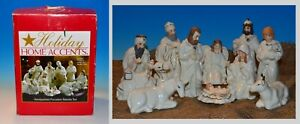 Holiday-Home-Accent-11-Piece-Hand-Painted-Cream-Porcelain-Nativity-Scene-Vintage