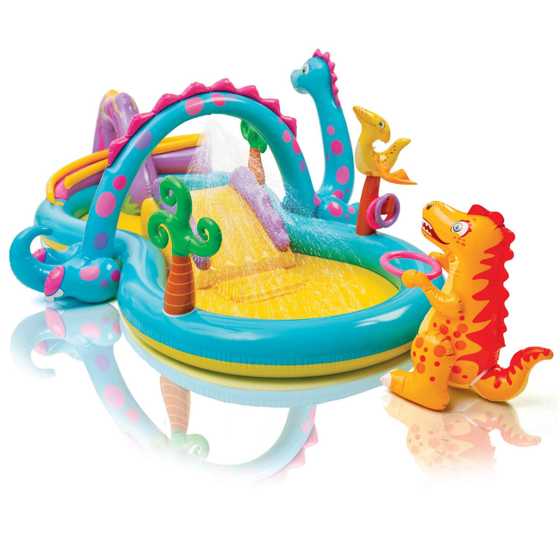 Intex Hüpfburg Pool mit Rutsche Schaukel Spielhaus Trampolin Wasserrutsche 57135