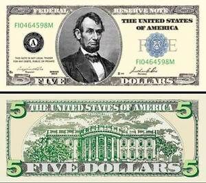 LINCOLN-BILLET-034-5-DOLLARS-US-034-Abraham-Collection-Million-Monnaie-President-H