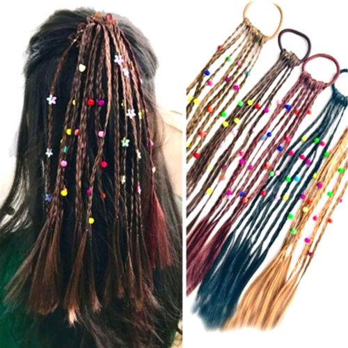 2pcs Children Wig Braids Multi-color Mini Clip Kids Elastics Hair Bands DSU