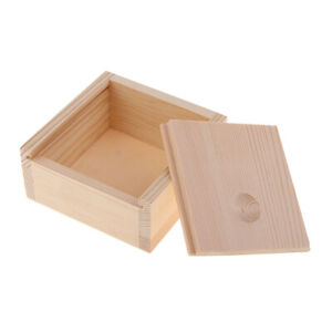 Tea Box for Crafts Jewelry Organizer Home Storage Unpainted Wood Case