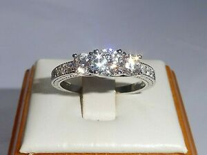 Ladies-Hallmarked-Sterling-925-Solid-Silver-3-Stone-White-Sapphire-Eternity-Ring