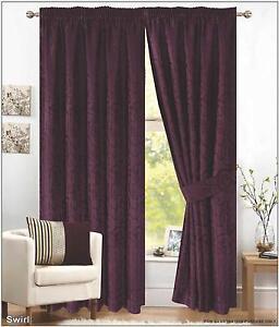 "Dark Plum Window Curtain Jacquard 66/"" x 72/"" Pencil Pleated Fully Lined Tieback"