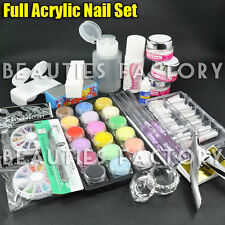 New Pro Full Primer Acrylic Powder Liquid Nail Art Tips Pens Brush File Kit #777