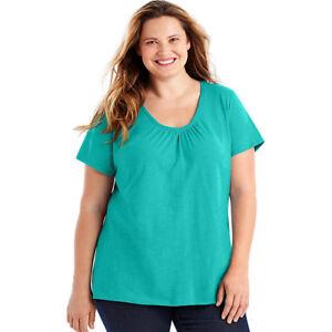Just-My-Size-Slub-Cotton-Short-Sleeve-Shirred-V-Neck-Women-039-s-Tee-3X