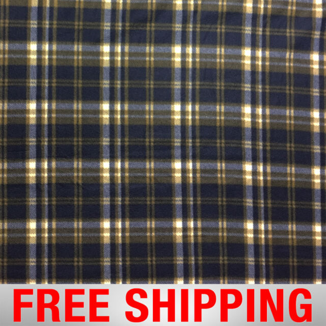 Fleece Fabric Plaid Dark Navy Tartan 60