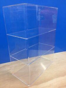 Acrylic-Lucite-Countertop-Display-ShowCase-Cabinet-12-034-x-6-034-x-16-034-h-2-shelves