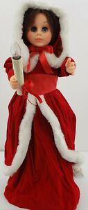 Vintage-Rennoc-24-034-Christmas-Caroler-Doll-Girl-Animated-With-lighted-Candle