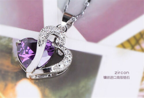 1PC Chic Sterling Silver Purple Gemstone Heart Nice Necklace Pendant W87