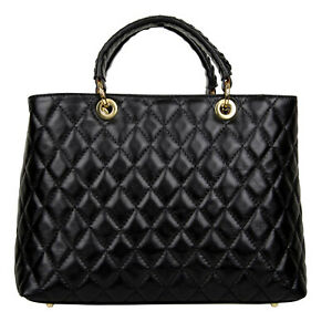 Woman Genuine Quilted Leather Handbag Tote Black Made In Italy Shoulder Bag Ebay