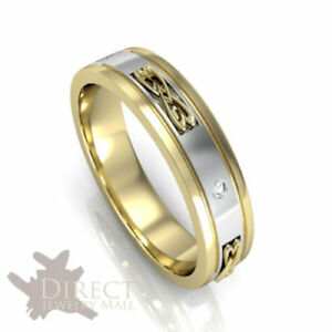 Details About 9ct Solid Yellow Gold Genuine Diamond Celtic Heart New Knot Wedding Band Ring