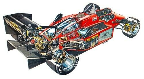 A3 Ferrari 156 85 Cutaway Drawing Wall Poster Art Picture Print