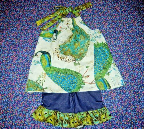 Peacock Feathers Floral Outfit 4T 6 Boutique Girls Halter shirt shorts dress 5