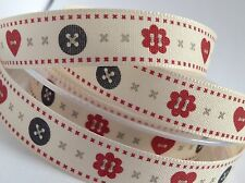 3M BERISFORDS HEARTS AND BUTTONS RIBBON FOR SEWING, ARTS, CRAFTS, SCRAP BOOKING